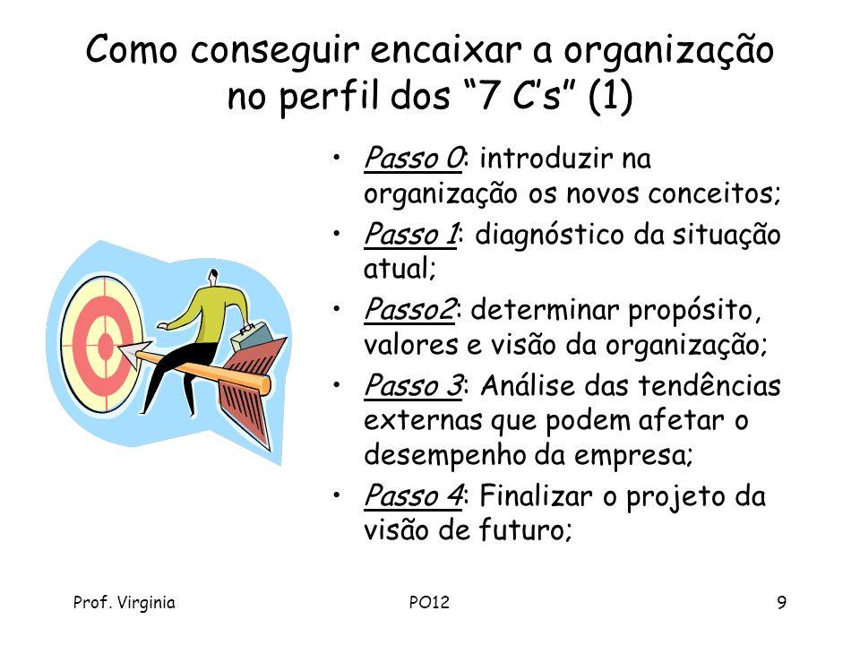 Prof. VirginiaPO129 Como conseguir encaixar a organização no perfil dos 7 Cs (1) Passo 0: introduzir na organização os novos conceitos; Passo 1: diagn