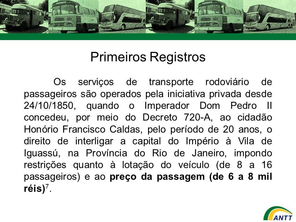 Os serviços de transporte rodoviário de passageiros são operados pela iniciativa privada desde 24/10/1850, quando o Imperador Dom Pedro II concedeu, p