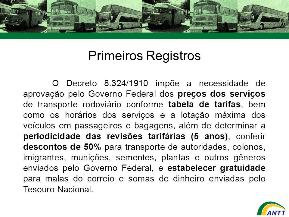 O Decreto 8.324/1910 impõe a necessidade de aprovação pelo Governo Federal dos preços dos serviços de transporte rodoviário conforme tabela de tarifas