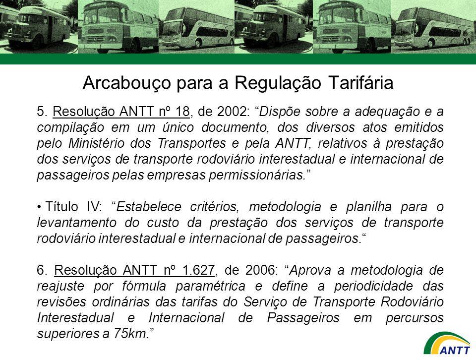 Arcabouço para a Regulação Tarifária 5. Resolução ANTT nº 18, de 2002: Dispõe sobre a adequação e a compilação em um único documento, dos diversos ato