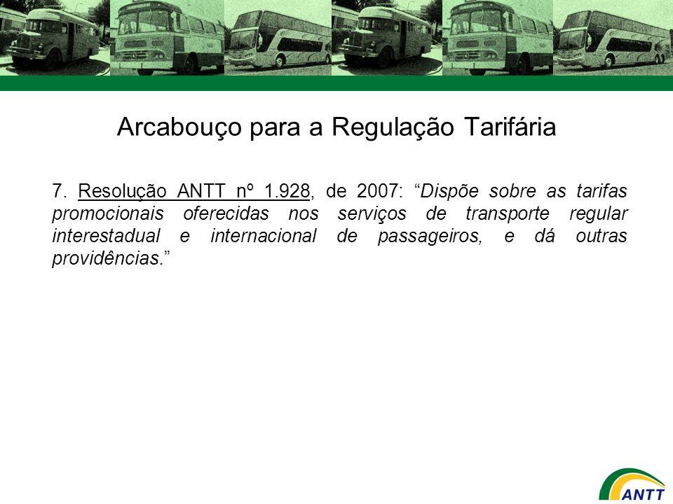 Arcabouço para a Regulação Tarifária 7. Resolução ANTT nº 1.928, de 2007: Dispõe sobre as tarifas promocionais oferecidas nos serviços de transporte r