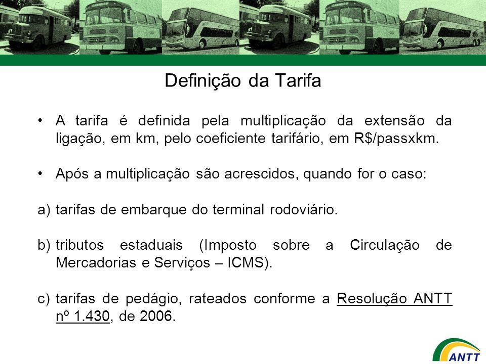 Definição da Tarifa A tarifa é definida pela multiplicação da extensão da ligação, em km, pelo coeficiente tarifário, em R$/passxkm. Após a multiplica