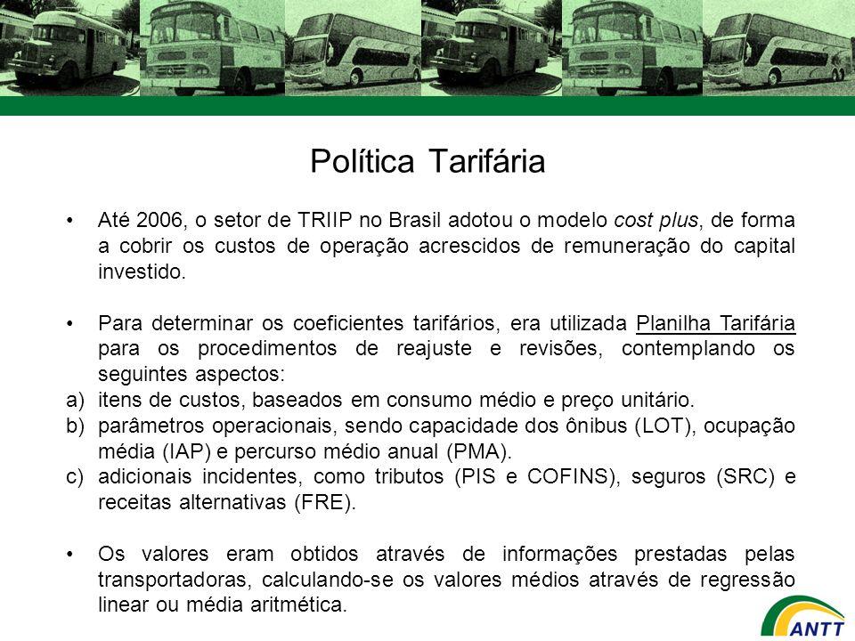 Política Tarifária Até 2006, o setor de TRIIP no Brasil adotou o modelo cost plus, de forma a cobrir os custos de operação acrescidos de remuneração d