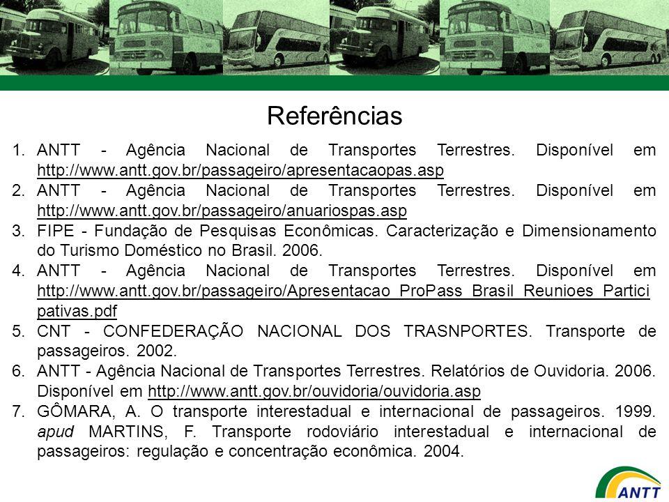 Referências 1.ANTT - Agência Nacional de Transportes Terrestres. Disponível em http://www.antt.gov.br/passageiro/apresentacaopas.asp http://www.antt.g