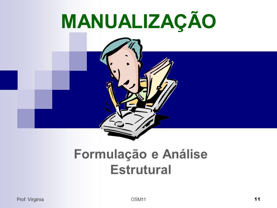 Prof. VirginiaOSM11 11 MANUALIZAÇÃO Formulação e Análise Estrutural