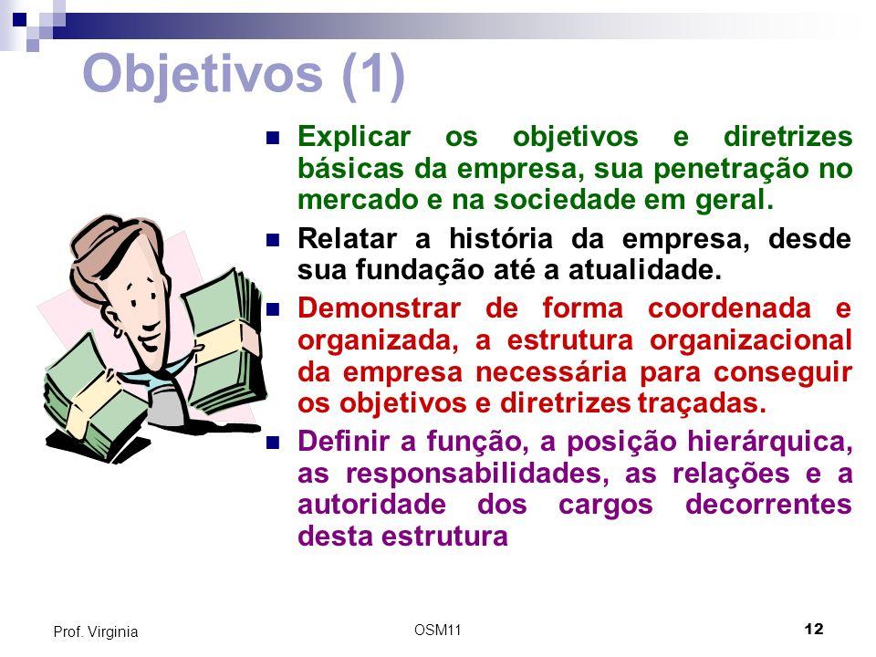 OSM1112 Prof. Virginia Objetivos (1) Explicar os objetivos e diretrizes básicas da empresa, sua penetração no mercado e na sociedade em geral. Relatar