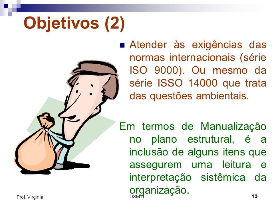 OSM1113 Prof. Virginia Objetivos (2) Atender às exigências das normas internacionais (série ISO 9000). Ou mesmo da série ISSO 14000 que trata das ques