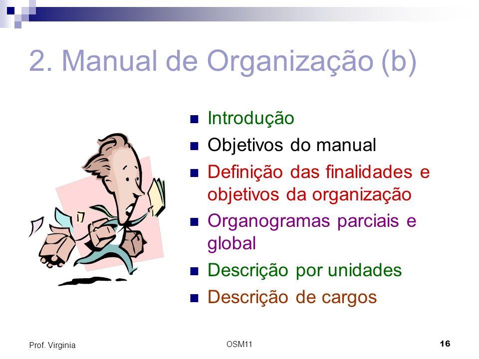 OSM1116 Prof. Virginia 2. Manual de Organização (b) Introdução Objetivos do manual Definição das finalidades e objetivos da organização Organogramas p
