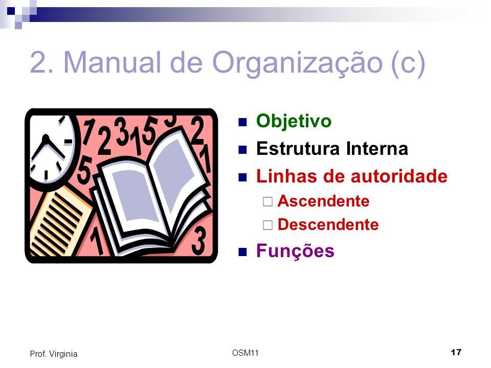 OSM1117 Prof. Virginia 2. Manual de Organização (c) Objetivo Estrutura Interna Linhas de autoridade Ascendente Descendente Funções