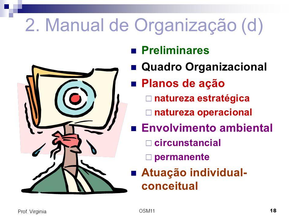 OSM1118 Prof. Virginia 2. Manual de Organização (d) Preliminares Quadro Organizacional Planos de ação natureza estratégica natureza operacional Envolv