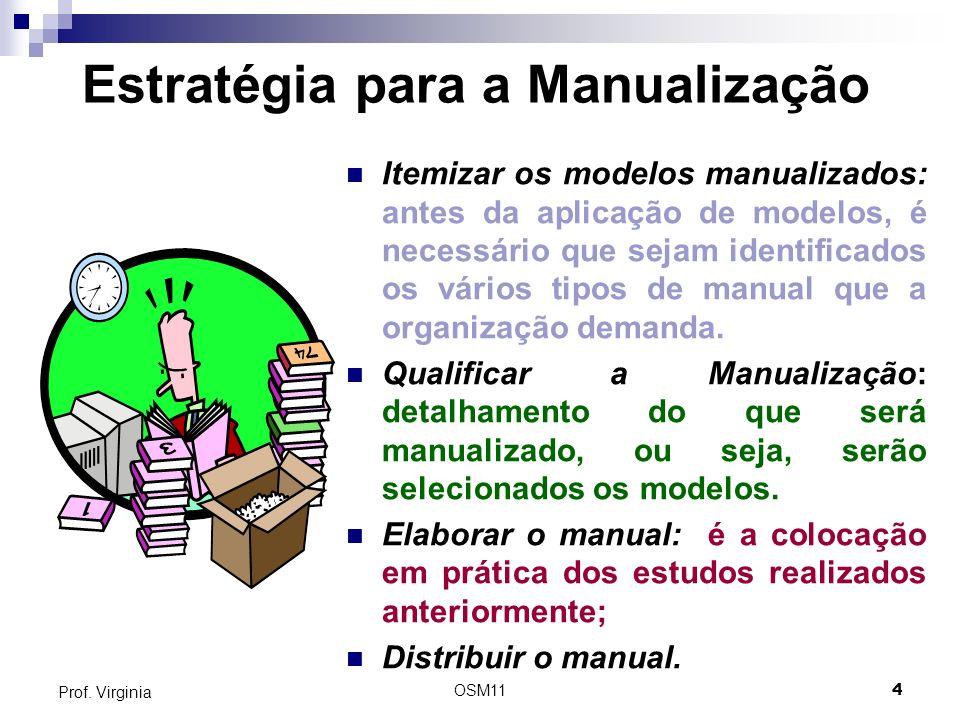 OSM114 Prof. Virginia Estratégia para a Manualização Itemizar os modelos manualizados: antes da aplicação de modelos, é necessário que sejam identific