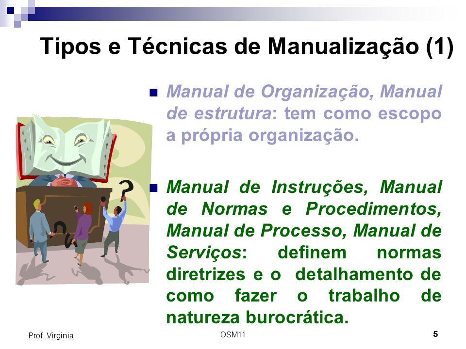 OSM115 Prof. Virginia Tipos e Técnicas de Manualização (1) Manual de Organização, Manual de estrutura: tem como escopo a própria organização. Manual d