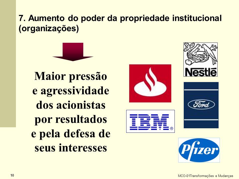 MCO-01Transformações e Mudanças 10 7. Aumento do poder da propriedade institucional (organizações) Maior pressão e agressividade dos acionistas por re