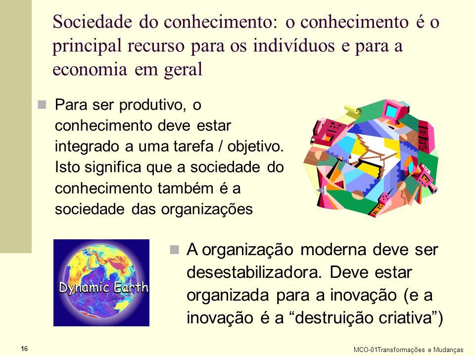 MCO-01Transformações e Mudanças 16 Sociedade do conhecimento: o conhecimento é o principal recurso para os indivíduos e para a economia em geral Para