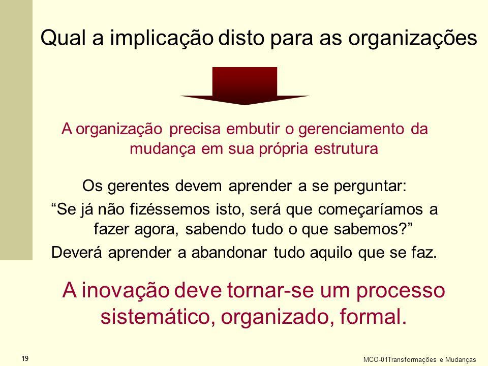 MCO-01Transformações e Mudanças 19 Qual a implicação disto para as organizações A organização precisa embutir o gerenciamento da mudança em sua própri