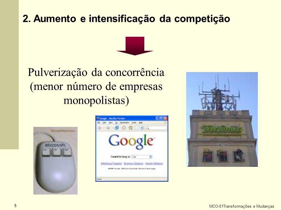 MCO-01Transformações e Mudanças 5 Pulverização da concorrência (menor número de empresas monopolistas) 2. Aumento e intensificação da competição