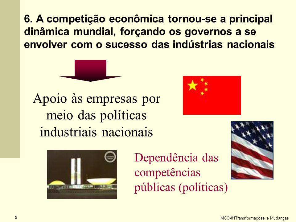 MCO-01Transformações e Mudanças 9 6. A competição econômica tornou-se a principal dinâmica mundial, forçando os governos a se envolver com o sucesso d