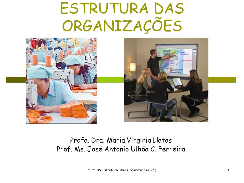 MCO-05-Estrutura das Organizações (1)1 ESTRUTURA DAS ORGANIZAÇÕES Profa. Dra. Maria Virginia Llatas Prof. Ms. José Antonio Ulhôa C. Ferreira