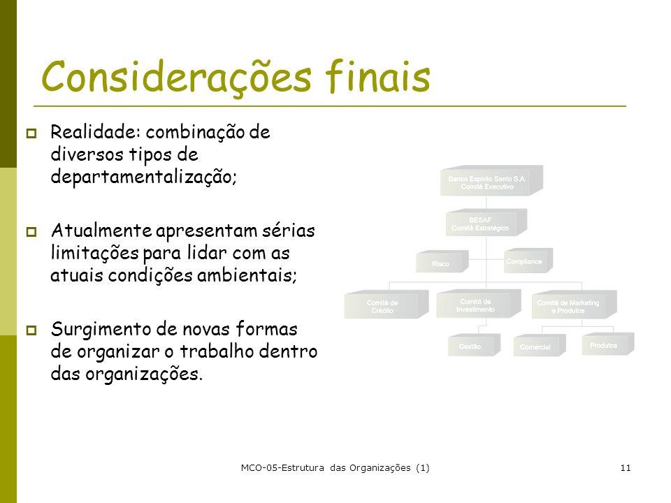MCO-05-Estrutura das Organizações (1)11 Considerações finais Realidade: combinação de diversos tipos de departamentalização; Atualmente apresentam sér
