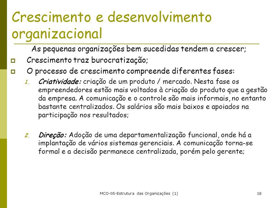 MCO-05-Estrutura das Organizações (1)18 Crescimento e desenvolvimento organizacional As pequenas organizações bem sucedidas tendem a crescer; Crescime