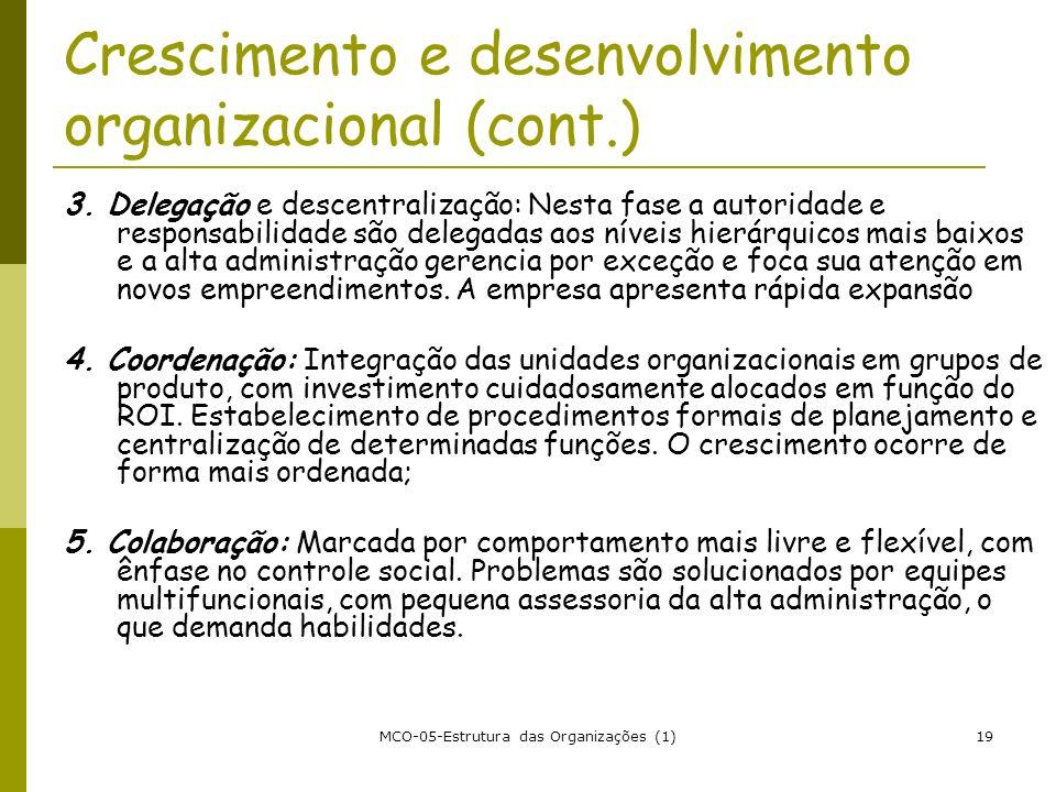 MCO-05-Estrutura das Organizações (1)19 Crescimento e desenvolvimento organizacional (cont.) 3. Delegação e descentralização: Nesta fase a autoridade