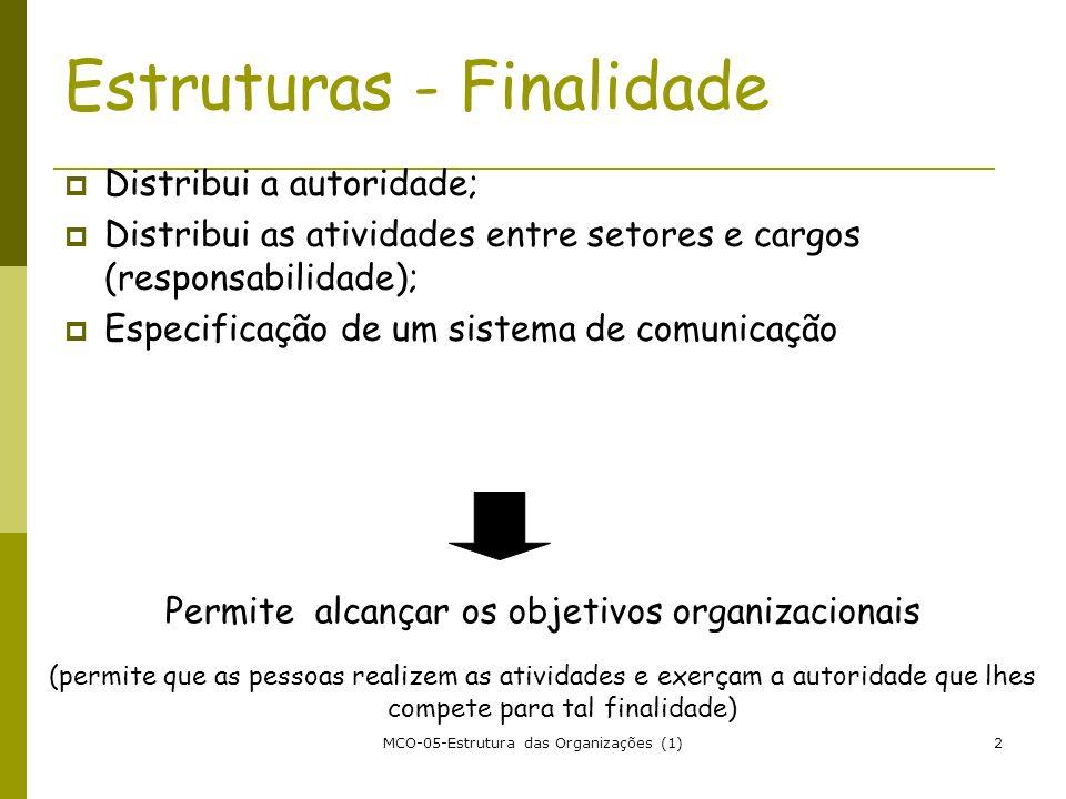 MCO-05-Estrutura das Organizações (1)3 Elementos da estrutura organizacional Definição das atividades; Escolha dos critérios para a departamentalização; Centralização x descentralização das áreas de apoio; Localização das assessorias; Amplitude de controle x níveis hierárquicos; Nível de descentralização da autoridade; Sistemas de comunicação; Grau de formalização.