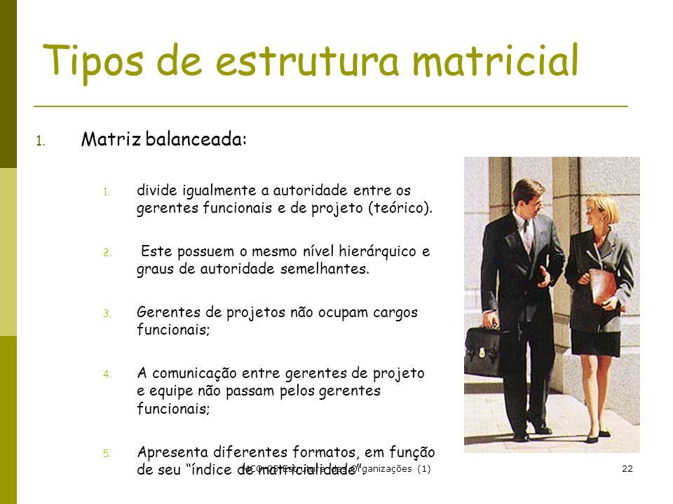 MCO-05-Estrutura das Organizações (1)22 Tipos de estrutura matricial 1. Matriz balanceada: 1. divide igualmente a autoridade entre os gerentes funcion