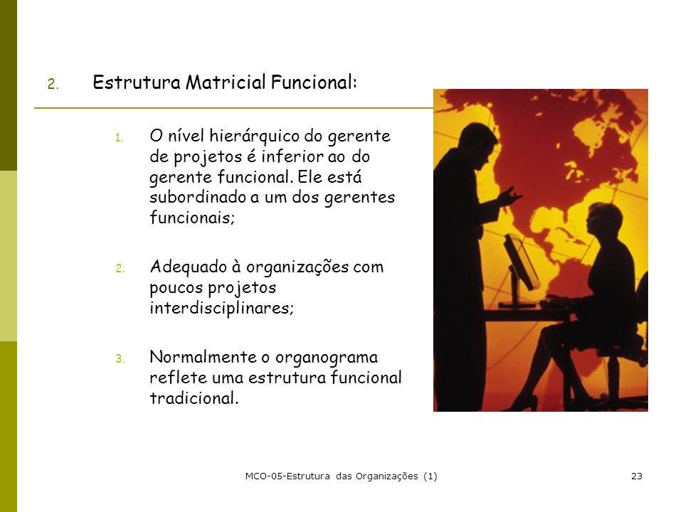 MCO-05-Estrutura das Organizações (1)23 2. Estrutura Matricial Funcional: 1. O nível hierárquico do gerente de projetos é inferior ao do gerente funci