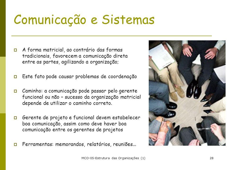 MCO-05-Estrutura das Organizações (1)28 Comunicação e Sistemas A forma matricial, ao contrário das formas tradicionais, favorecem a comunicação direta