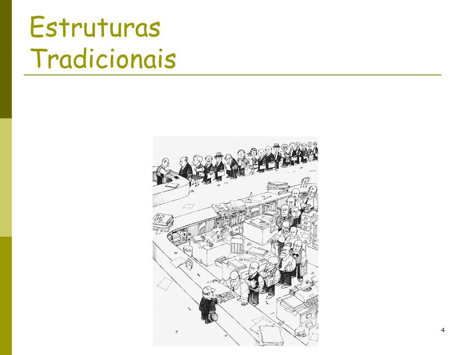 MCO-05-Estrutura das Organizações (1)5 Estruturas tradicionais - características Alto nível de formalização; Relações apoiadas no conceito de unidade de comando; Especialização elevada; Comunicação vertical: segue a cadeia de autoridade, evita mal-entendidos, melhora a coordenação e reforça a autoridade do chefe; Formas tradicionais de departamentalização (o que reforça a especialização elevada).
