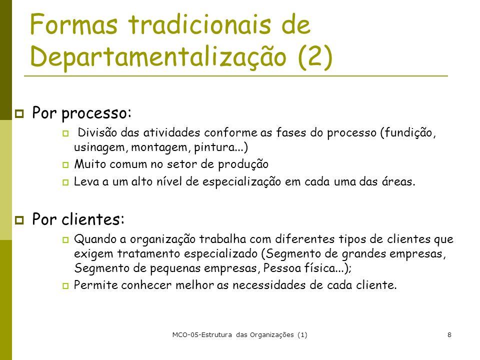 MCO-05-Estrutura das Organizações (1)8 Formas tradicionais de Departamentalização (2) Por processo: Divisão das atividades conforme as fases do proces