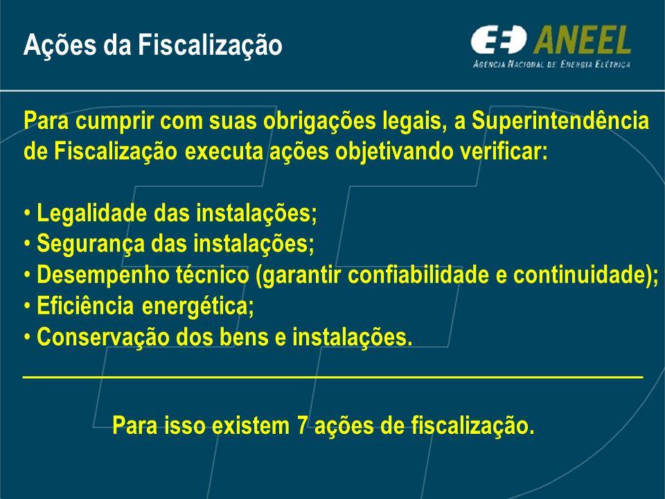 Para cumprir com suas obrigações legais, a Superintendência de Fiscalização executa ações objetivando verificar: Legalidade das instalações; Segurança