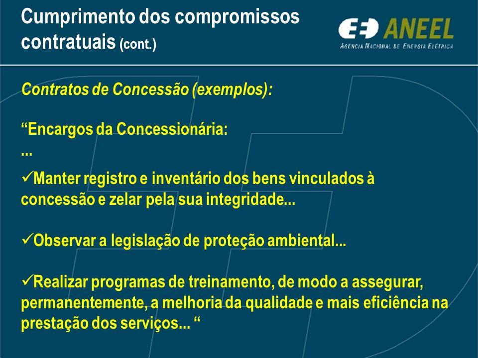 Contratos de Concessão (exemplos): Encargos da Concessionária:... Manter registro e inventário dos bens vinculados à concessão e zelar pela sua integr