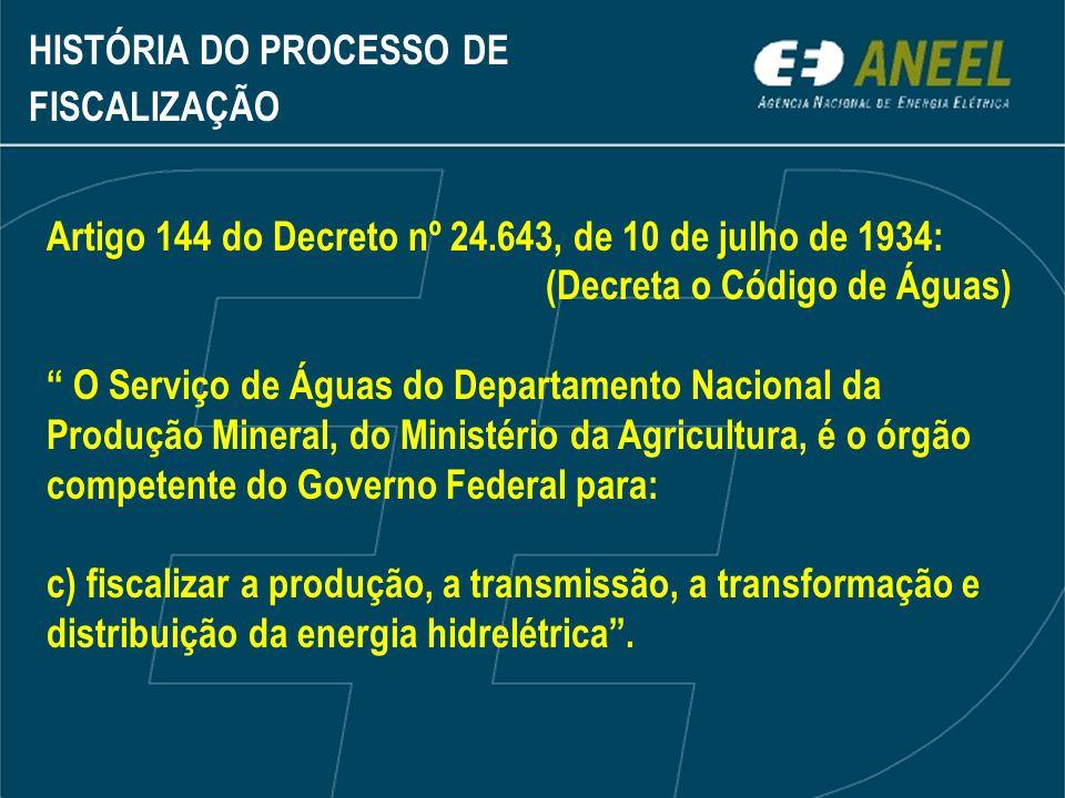 Artigo 144 do Decreto nº 24.643, de 10 de julho de 1934: (Decreta o Código de Águas) O Serviço de Águas do Departamento Nacional da Produção Mineral,