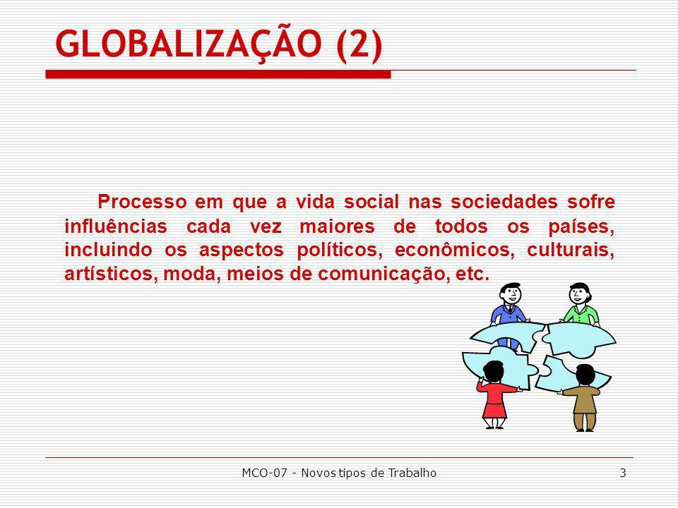 MCO-07 - Novos tipos de Trabalho4 GLOBALIZAÇÃO EMPRESARIAL Globalização da demanda; Globalização da oferta; Globalização da competição; Globalização da estratégia.