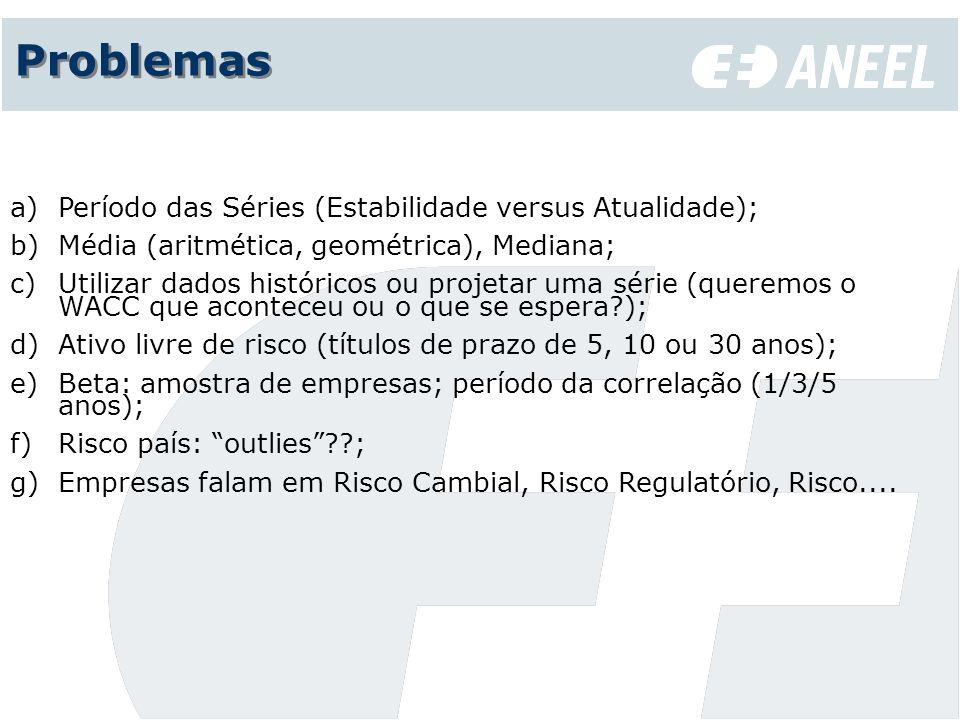 Problemas a)Período das Séries (Estabilidade versus Atualidade); b)Média (aritmética, geométrica), Mediana; c)Utilizar dados históricos ou projetar um