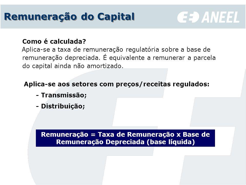 Remuneração do Capital Aplica-se aos setores com preços/receitas regulados: - Transmissão; - Distribuição; Como é calculada? Aplica-se a taxa de remun