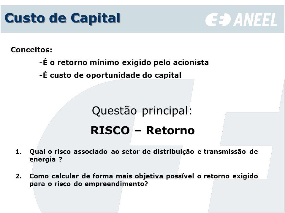 Custo de Capital Questão principal: RISCO – Retorno 1.Qual o risco associado ao setor de distribuição e transmissão de energia ? 2.Como calcular de fo
