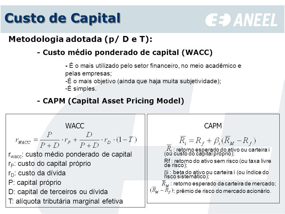 Custo de Capital Metodologia adotada (p/ D e T): - Custo médio ponderado de capital (WACC) - É o mais utilizado pelo setor financeiro, no meio acadêmi