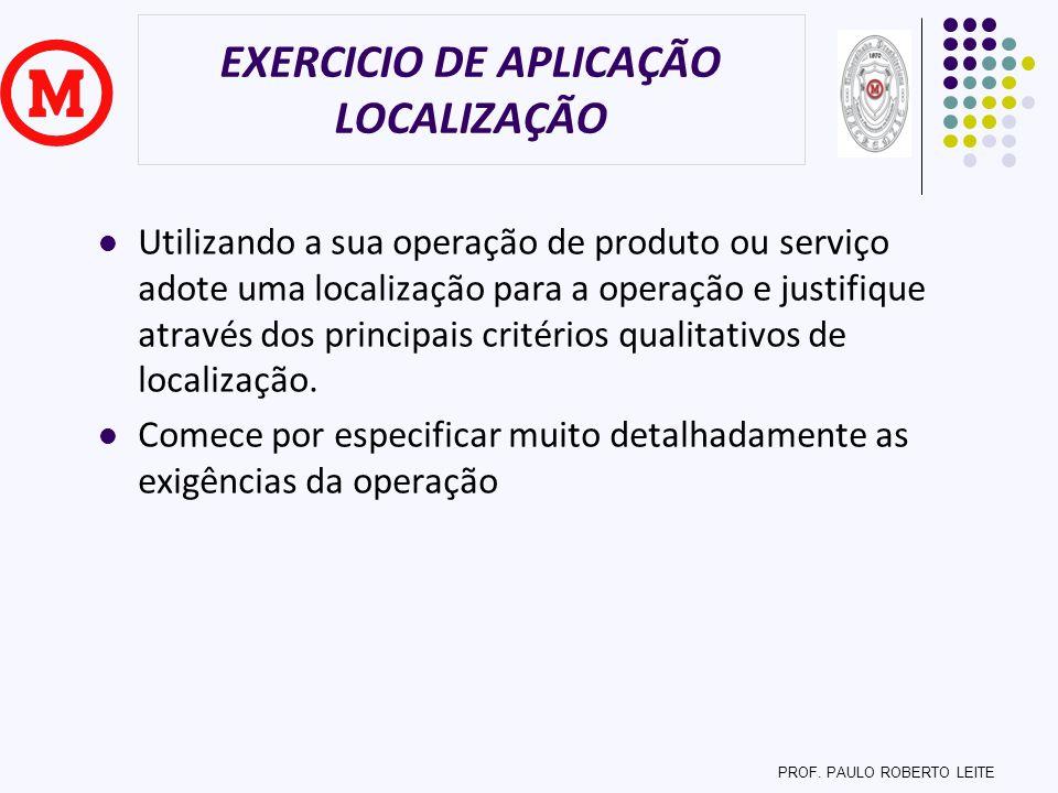 EXERCICIO DE APLICAÇÃO LOCALIZAÇÃO Utilizando a sua operação de produto ou serviço adote uma localização para a operação e justifique através dos prin