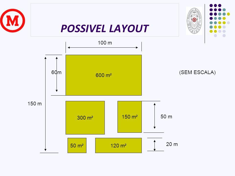 POSSIVEL LAYOUT 600 m² 300 m² 150 m² 50 m²120 m² 100 m 150 m 60m 50 m 20 m (SEM ESCALA)
