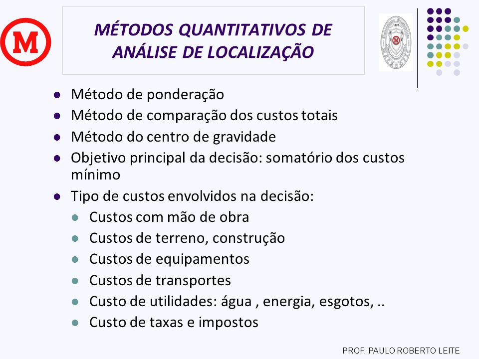 PROF. PAULO ROBERTO LEITE MÉTODOS QUANTITATIVOS DE ANÁLISE DE LOCALIZAÇÃO Método de ponderação Método de comparação dos custos totais Método do centro