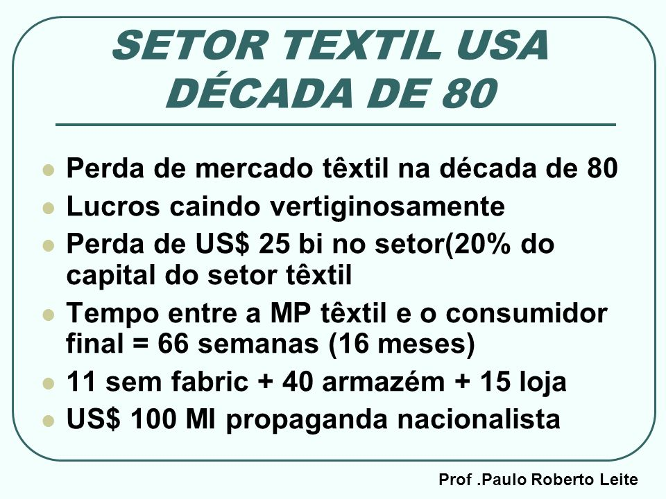Prof.Paulo Roberto Leite SETOR TEXTIL USA DÉCADA DE 80 Perda de mercado têxtil na década de 80 Lucros caindo vertiginosamente Perda de US$ 25 bi no se