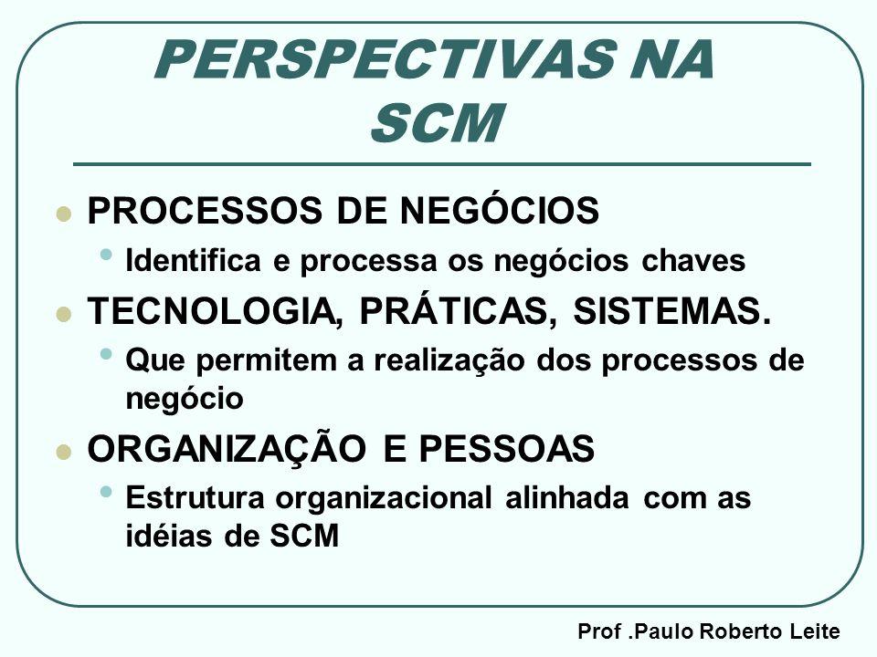 Prof.Paulo Roberto Leite PERSPECTIVAS NA SCM PROCESSOS DE NEGÓCIOS Identifica e processa os negócios chaves TECNOLOGIA, PRÁTICAS, SISTEMAS. Que permit