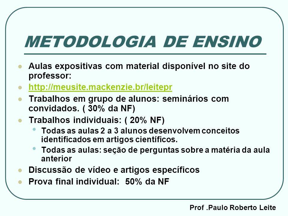 Prof.Paulo Roberto Leite METODOLOGIA DE ENSINO Aulas expositivas com material disponível no site do professor: http://meusite.mackenzie.br/leitepr Tra