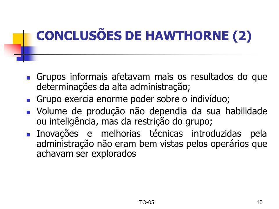 TO-0510 CONCLUSÕES DE HAWTHORNE (2) Grupos informais afetavam mais os resultados do que determinações da alta administração; Grupo exercia enorme pode