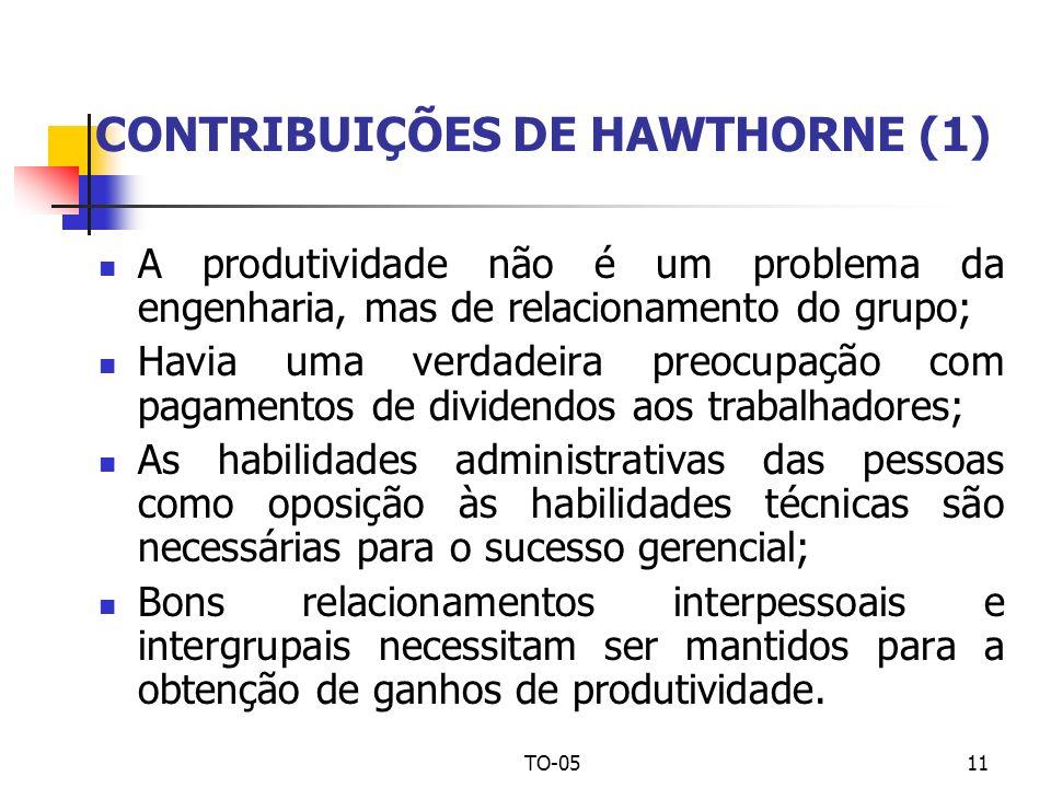 TO-0511 CONTRIBUIÇÕES DE HAWTHORNE (1) A produtividade não é um problema da engenharia, mas de relacionamento do grupo; Havia uma verdadeira preocupaç