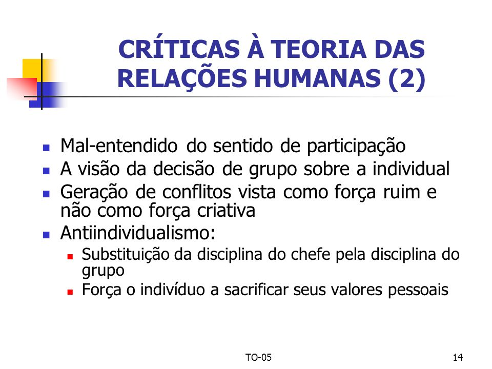 TO-0514 CRÍTICAS À TEORIA DAS RELAÇÕES HUMANAS (2) Mal-entendido do sentido de participação A visão da decisão de grupo sobre a individual Geração de