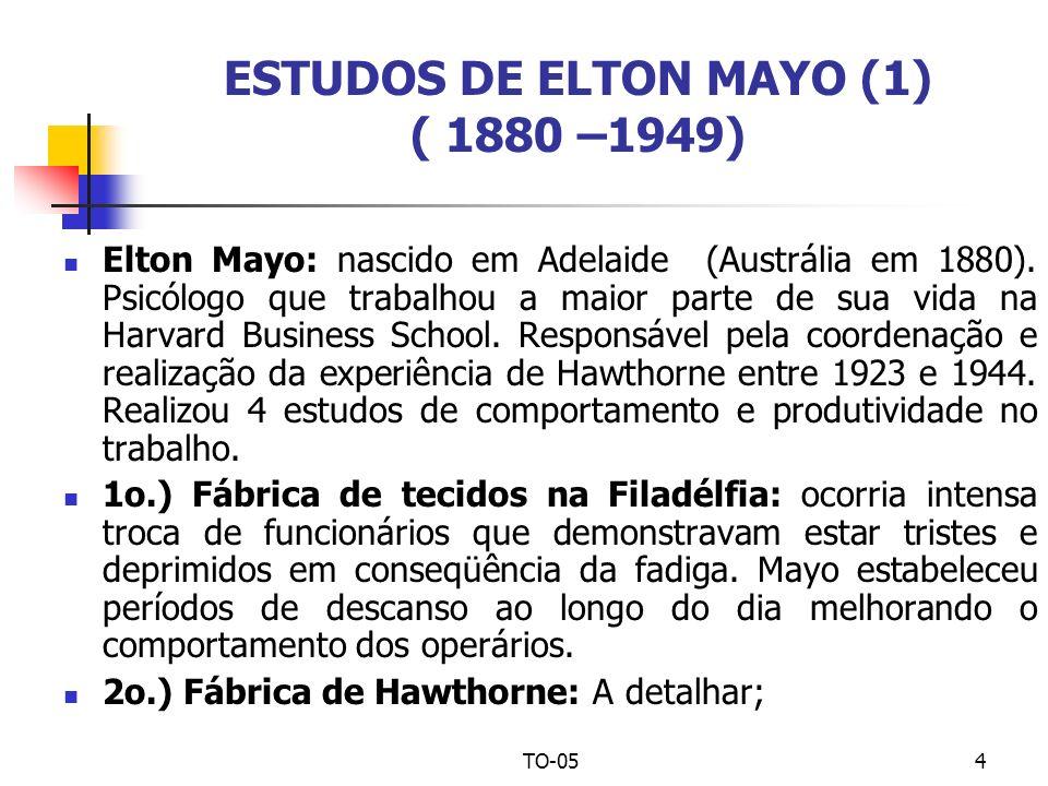 TO-054 ESTUDOS DE ELTON MAYO (1) ( 1880 –1949) Elton Mayo: nascido em Adelaide (Austrália em 1880). Psicólogo que trabalhou a maior parte de sua vida
