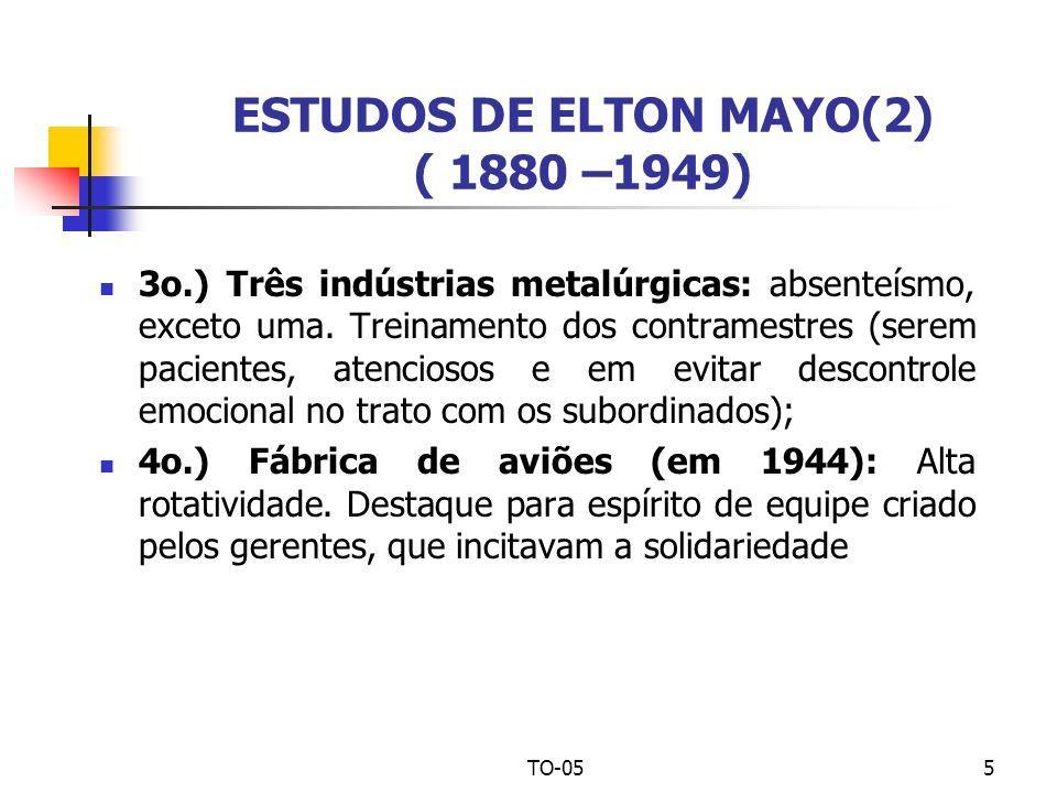 TO-055 ESTUDOS DE ELTON MAYO(2) ( 1880 –1949) 3o.) Três indústrias metalúrgicas: absenteísmo, exceto uma. Treinamento dos contramestres (serem pacient